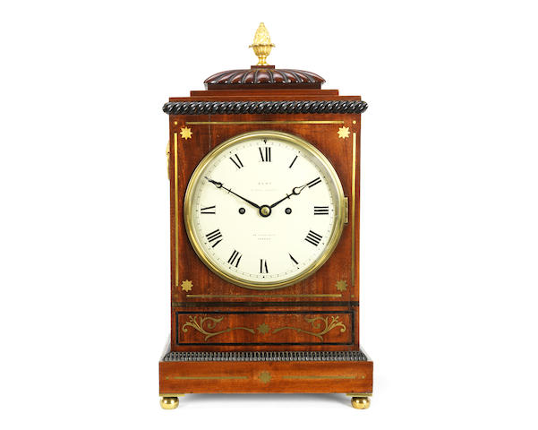 A 19th century brass inlaid rosewood table / bracket clock