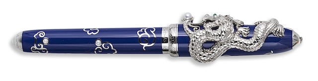 CARTIER: Prestige Dragon Platinum Plated Sterling Silver Limited Edition 888 Fountain Pen