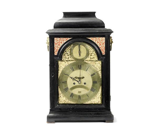 A George III ebonised and brass mounted table / bracket clock