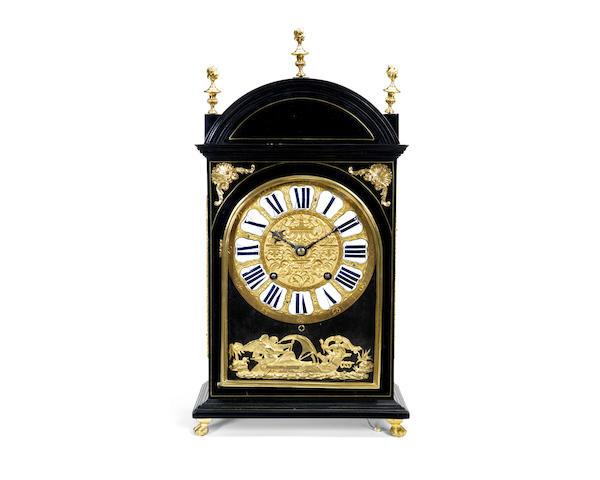 A mid 18th century gilt brass mounted, ebonised bracket / table clock