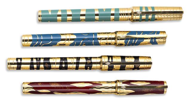 DUPONT: Les Eléments Lot of Four 18K Gold Limited Edition 200 Fountain Pens