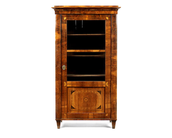 An Austrian early 19th century walnut, ebonised and fruitwood inlaid display cabinet