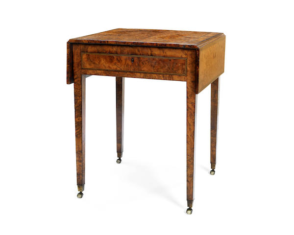A George III burr yew and ebonised line-inlaid Pembroke table