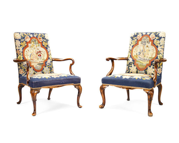 Two similar early 20th century open armchairs