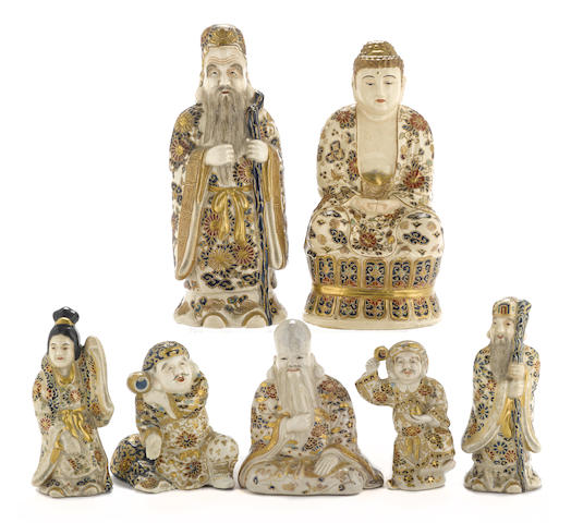 A group of seven Satsuma ceramic figures