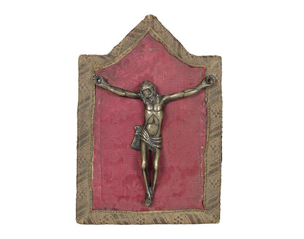 An early 15th century German bronze figure of Christ on the Cross