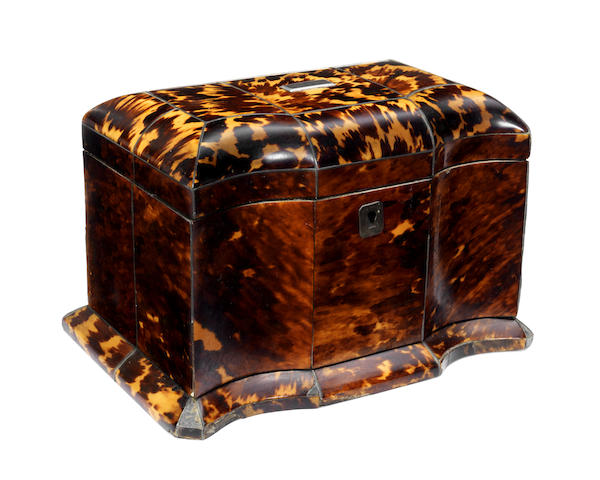 An early Victorian pewter strung and ivory banded tortoiseshell tea caddy
