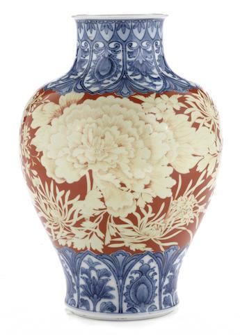 A studio ceramic baluster vase