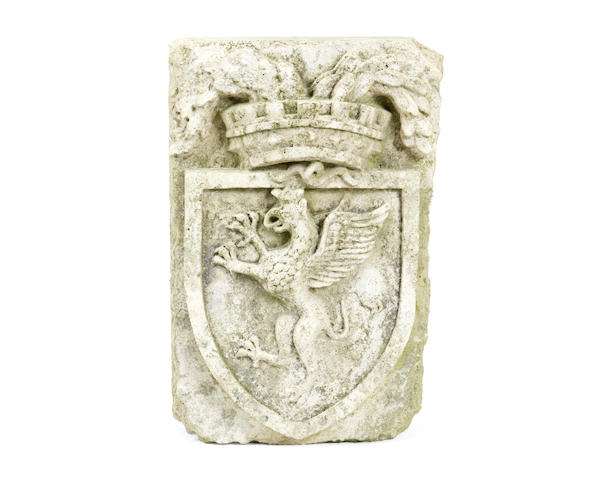 An Italian carved marble relief depicting the Perugia coat of arms