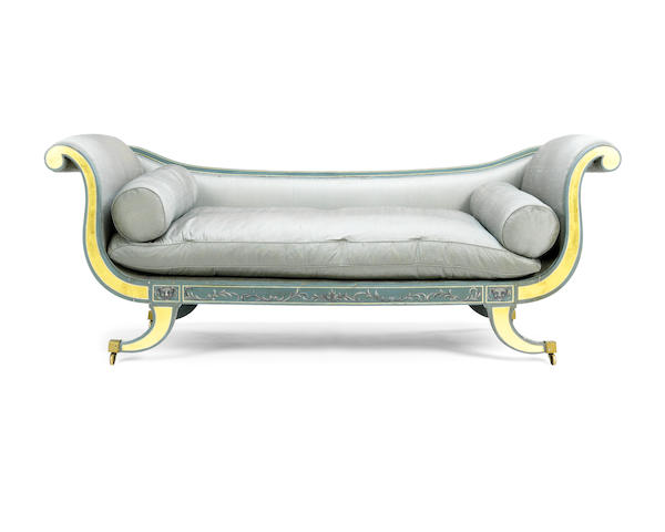 A Regency polychrome decorated sofa
