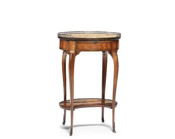 A French late 18th century Transitional kingwood and tulipwood parquetry occasional table