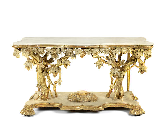 An Italian mid 19th century carved giltwood and gesso console table