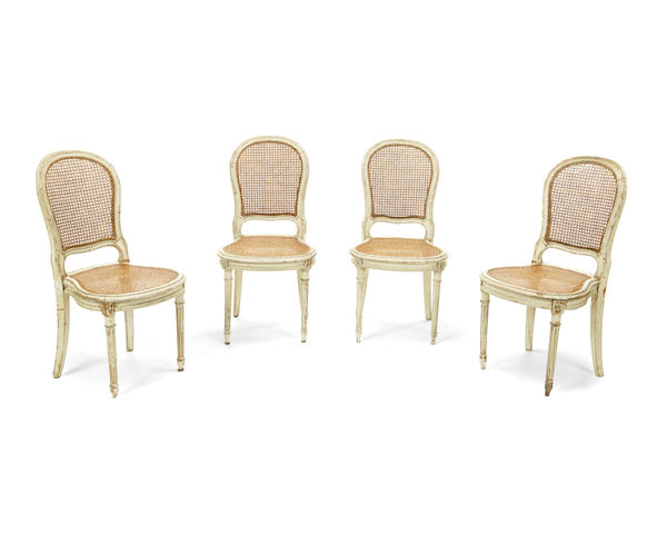 A set of twelve French late 19th/early 20th century painted dining chairs