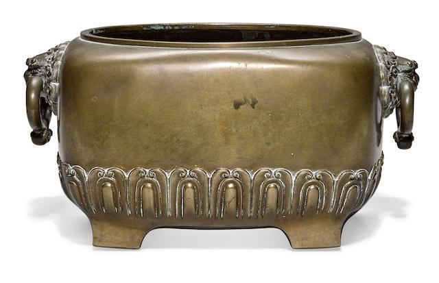 A portable bronze hibachi