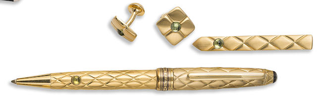 MONTBLANC: True Princess Ballpoint Pen with Matching Tie Clip and Cufflinks