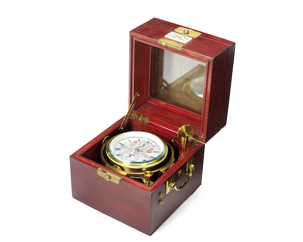 A modern brass two day marine chronometer