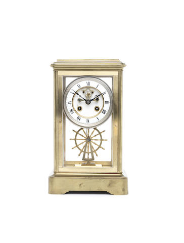A late 19th century French gilt brass 400 day four glass Brocot escapement mantel clock