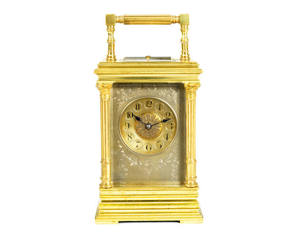 A late 19th century French brass and silvered Anglaise Riche type carriage clock with repeat