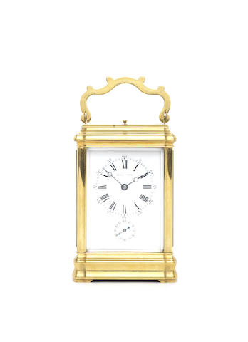 A late 19th century French gilt brass Grand Sonnerie carriage clock with repeat and alarm