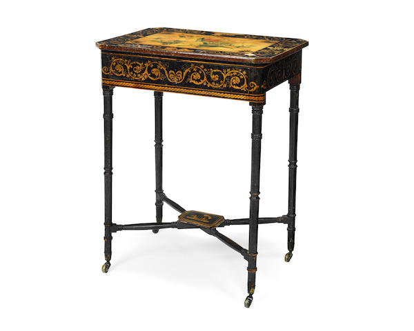 A Regency ebonised and penwork decorated side/work table