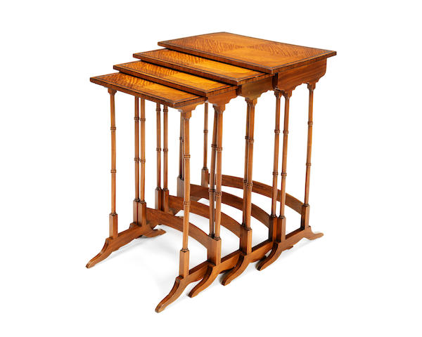 A nest of Victorian satinwood and tulipwood crossbanded quartetto tables