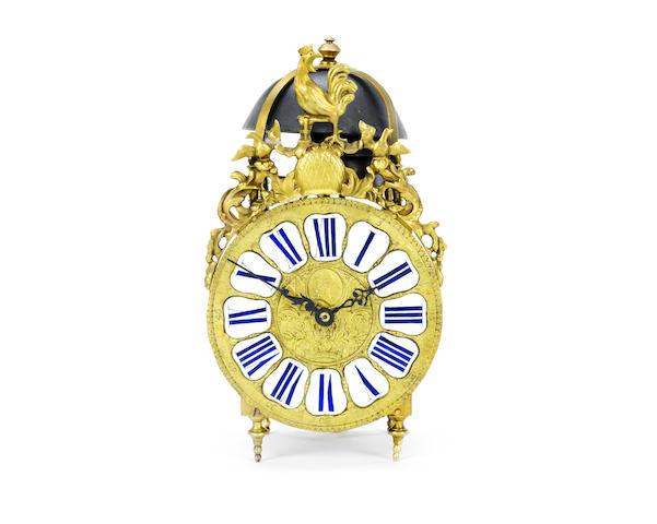 A rare 19th century French quarter chiming lantern clock