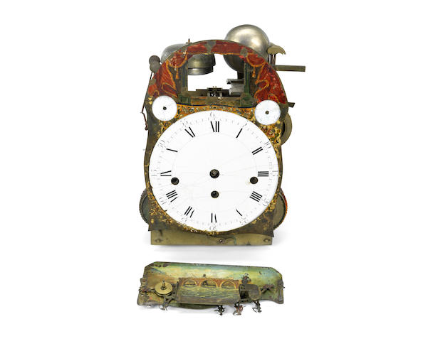 A George III automaton quarter striking and musical bracket table clock movement
