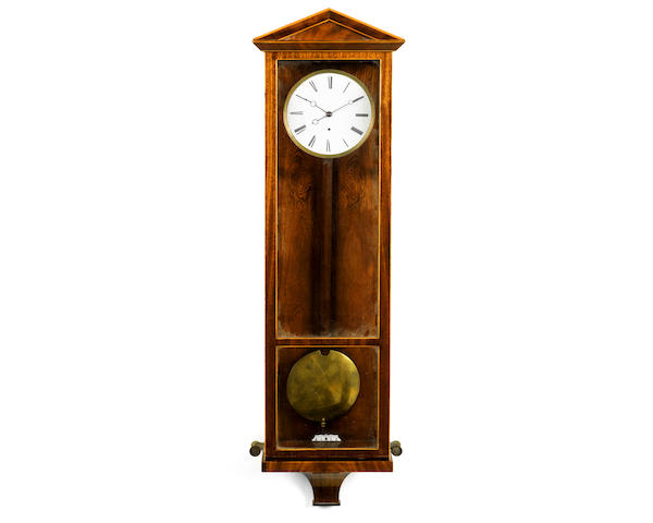 A mid 19th century Austrian mahogany and satinwood strung mahogany wall regulator or Lanterndluhr