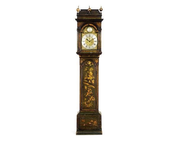 A George III green japanned longcase clock