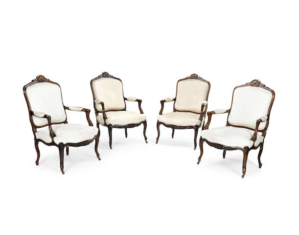 A set of four 19th century rosewood fauteuils