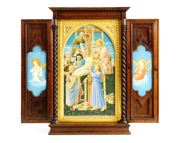 A 19th century triptych in walnut frame