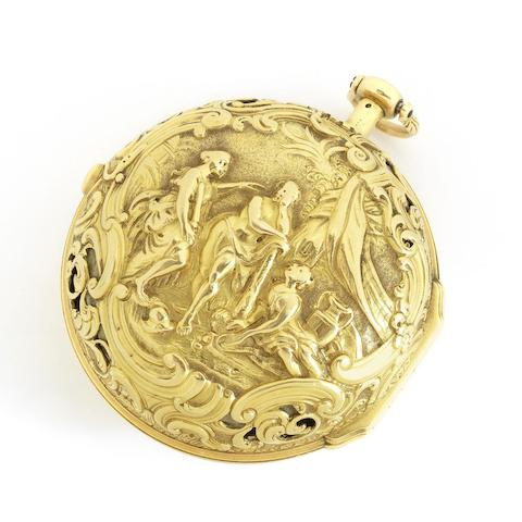 A fine and rare historically significant gold key wind repoussé quarter repeating pair case pocket watch