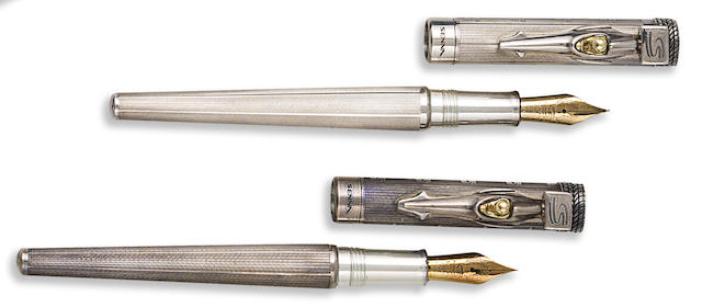 MONTEGRAPPA: Tribute to Ayrton Senna Lot of Two of Sterling Silver Limited Edition 1960 Fountain Pens