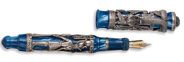 MONTEGRAPPA: Luxor Blue Nile Sterling Silver Limited Edition 1912 Fountain Pen