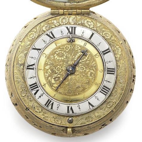 A fine and rare gilt clock coach watch with alarm
