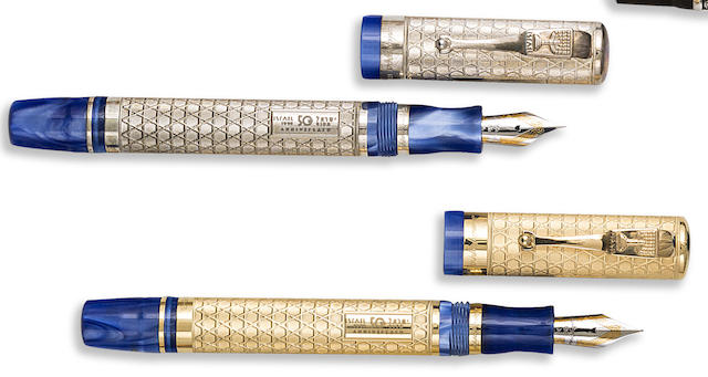 MONTEGRAPPA: Israel 50 Years Pair of 18K Gold & Sterling Silver Limited Edition 50 & 500 Fountain Pens