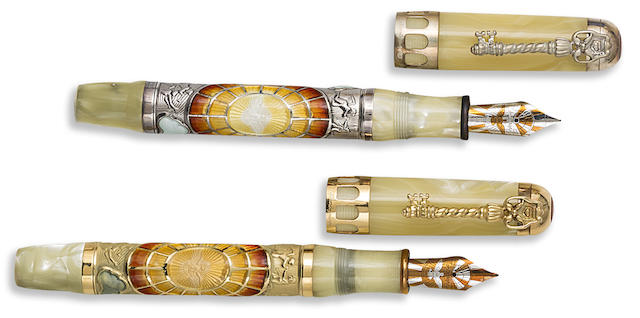 MONTEGRAPPA: Tertio Millennio Adventiente Pair of 18K Gold & Sterling Silver Limited Edition 100 & 1912 Fountain Pens