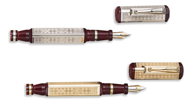 MONTEGRAPPA: Marostica: The Game of Chess Pair of 18K Gold & Sterling Silver Limited Edition 100 & 2000 Fountain Pens