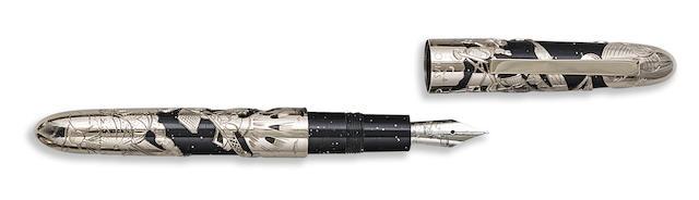 OMAS: Apollo 11 18K White Gold Overlay Limited Edition 69 Fountain Pen
