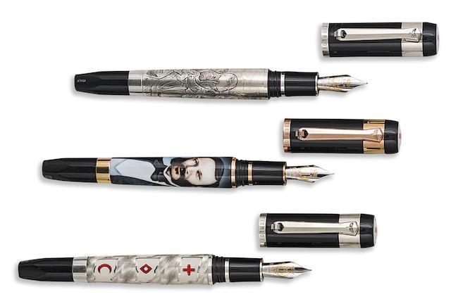 TIBALDI: Red Cross Movement Set of Three Limited Edition 150 Fountain Pens