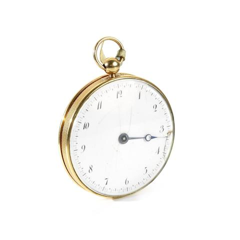 Breguet. A fine and rare gold key wind open face ruby cylinder 'Souscription' pocket watch