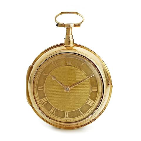 A gold key wind open face quarter repeating pair case pocket watch