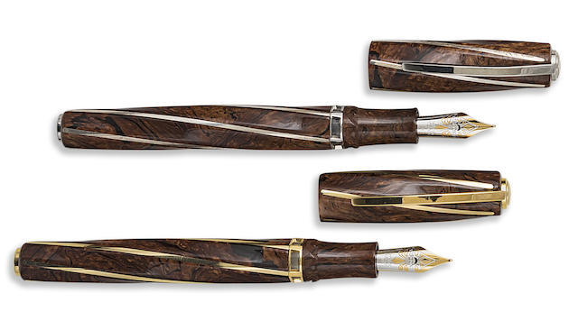 VISCONTI: Divine Proportion 18K Gold & Sterling Silver Pair of Limited Edition Fountain Pens