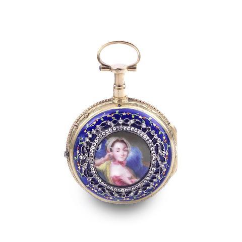 Hefsen A Paris. A continental gold key wind open face repeating pocket watch with enamel portrait miniature