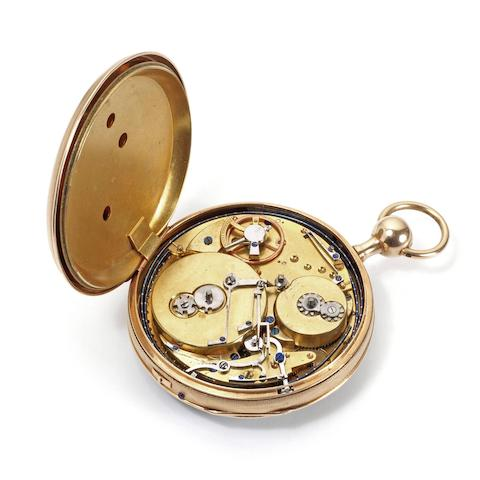 A continental gold key wind open face quarter repeating musical pocket watch
