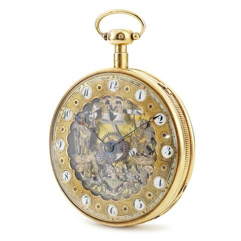 Berthoud. An 18K gold key wind open face Jacquemart pocket watch with decorative chain and fob