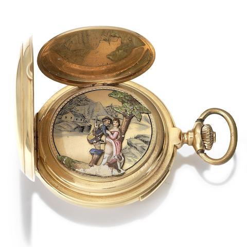 Swiss. A late 19th century 18K gold keyless wind quarter repeating automaton full hunter pocket watch