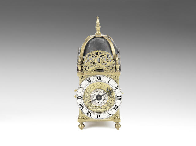 A good and rare 17th century miniature brass striking alarm lantern clock