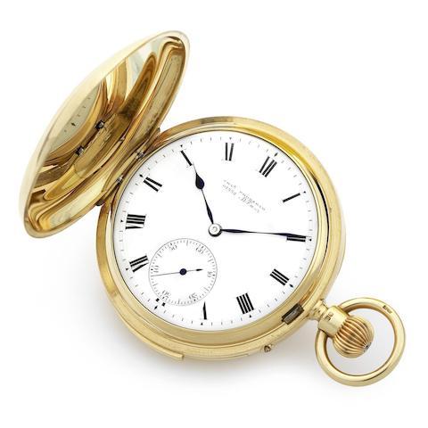 A fine 18K gold keyless wind minute repeating full hunter pocket watch