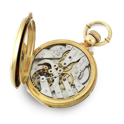 A rare and unusual 18K gold keyless wind diablotine dual train chronograph full hunter pocket watch